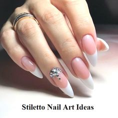 30 große Stiletto Nail Art Design-Ideen 1 – Creative Stiletto Nails Designs, You can collect images you discovered organize them, add your own ideas to your collections and share with other people. French Nails, French Acrylic Nails, Almond Acrylic Nails, Cute Acrylic Nails, Almond Nails, Cute Nails, Pretty Nails, Nails French Design, Acrylic Gel