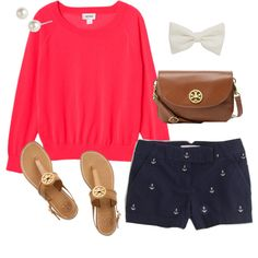 OOTD by classically-preppy on Polyvore. I can use my navy shorts and pink lauren conrad sweater