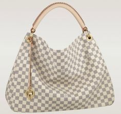 Size: 18.11 x 9.45 x 12.6 inches  The Artsy MM looks fresh and feminine in supple Damier Azur canvas. Adorned with shiny golden brass and a chic bag charm, its exquisite handcrafted leather handle adds a luxutious crowning touch.  -Natural cowhide leather trimmings-Bag charm can be used inside as a key-hanger-6 interior patch pockets, 2 large enough to accommodate a Zippy Wallet-Additional interior long zipped pocket-D-ring for keys and accessories-Soft Microfibre lining-Protective bottom…