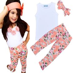 Find More Clothing Sets Information about Retail Summer Style Girls Clothing Set Cute White T shirt+Floral Pants+Headband 3pcs Set 2016 Brand Baby Girl Clothes meninas,High Quality clothes fall,China clothes gym Suppliers, Cheap clothes rivets from online kids on Aliexpress.com