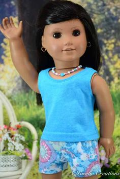 American Girl or 18 Inch Doll SHORTS in Blue by LorelieCreations