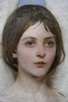 by abbott handerson thayer.  Closeup of the face of an Angel.  Love that painting.