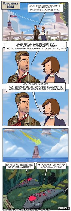 Bioshock Infinite - about sewage, from what I gather from my meager knowledge of the Spanish language... LOL.