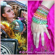 KERALA indiano Gypsy bracciale set XL colorato sacco di LaPolena