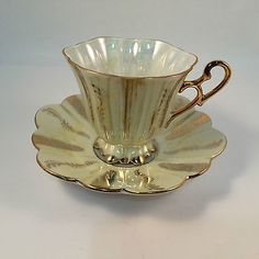 Shafford Hand Decorated Japan Tea Cup Lusterware Pedestal Pale Yellow Gold VTG