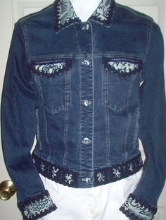 Womens Upcycled/Recycled Reconstructed Blue Trimmed Batik-Denim Jean Jacket-Free Shipping USA
