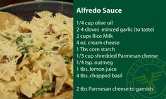 Alfredo Sauce for the Renal Patient Support Group that is easy and can be kept in the refrigerator for quick easy meals. Dialysis Diet, Renal Diet, Low Potassium Recipes, Low Sodium Recipes, Low Salt Recipes, Diet Recipes, Diet Meals, Recipies, Healthy Recipes