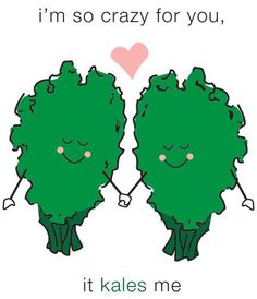Share the Love! Send this kale-tastic Valentine's e-card to your friends & family. They will automatically receive it on Valentine's day! Punny Puns, Cute Puns, Corny Jokes, Food Jokes, Food Humor, Funny Food, Fun Funny, Pick Up Lines Cheesy, Sweetest Day