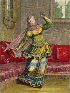 Tchingis ou danseuse turque  Recueil de cent estampes représentant les diverses nations du Levant tirées d'après nature en 1707 et 1708 par les ordres de M. de Ferriol, ambassadeur du Roy à la Porte et gravées en 1712 et 1713 par les soins de M. Le Hay  Gravure par Gérard Jean-Baptiste Scotin (1671-1716) d'après Jean-Baptiste Vanmour (1671-1737), 1715. BnF.