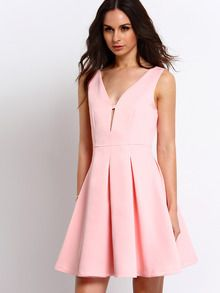 bf69732c15c9 Online shopping for Pink Sleeveless V-neck Flare Dress from a great  selection of women s fashion clothing   more at MakeMeChic.