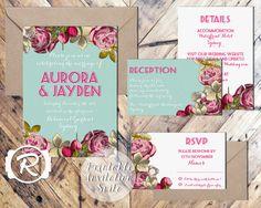 Printable Wedding Invitation Suite Floral by RubyRidgeStudios