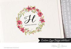 Premade logo design watercolor floral wreath by MadameLevasseur