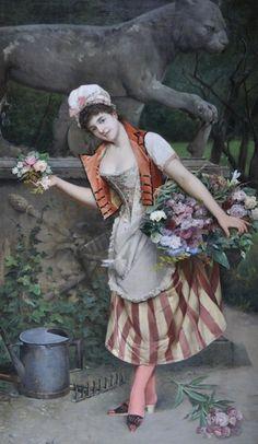 Arturo Orselli (italian painter) -The flower seller