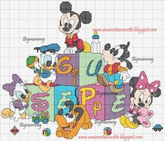 Cross Stitch Love, Cross Stitch Kits, Cross Stitching, Cross Stitch Embroidery, Pixel Art, Baby Looney Tunes, Stitch Character, Disney Cross Stitch Patterns, Mickey Mouse And Friends