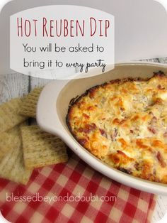 M y new favorite hot dip!Delicious Hot Reuben Dip Recipe that people will be begging you to bring to every party!