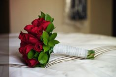 Bright red rose bouquet
