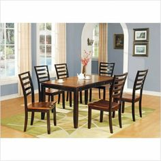 Bundle-43 Abaco Dining Table Set in Multi-Step Acacia (9 Pieces) by Steve Silver Furniture. $1254.00. [***INCLUDED IN THIS SET: (1)Abaco Dining Table, (8)Abaco Ladderback Side Chair] Features: -Contemporary style.-Corner blocked.-Tongue and groove joints.-12'' Butterfly leaf.-Tapered legs.-Chair has ladder back design. Includes: -Set includes dining table and six side chairs. Construction: -Solid wood construction. Color/Finish: -Multi-Step Acacia finish. Dimensions: -Seat...