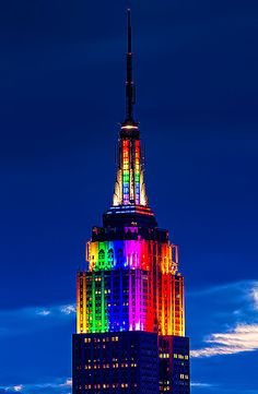 Rainbow @Donna Linda State Building dazzles on this historic #Pride weekend. #NYC #LGBT