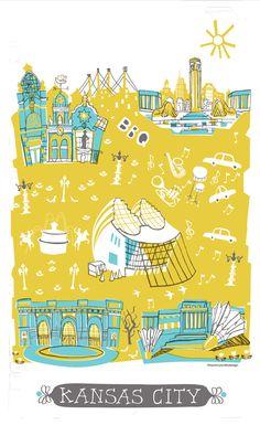 Kansas City Tea Towel - Tammy Smith Design