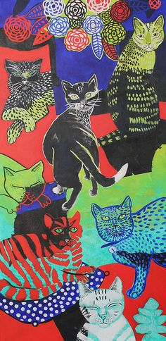 Cats in Art and Illustration Kunst Inspo, Art Inspo, Art And Illustration, Cat Illustrations, Photo Chat, Hippie Art, Psychedelic Art, Aesthetic Art, Oeuvre D'art