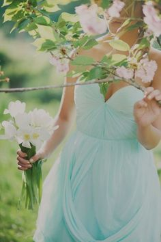 Egg shell blue bridesmaids dress tiffany