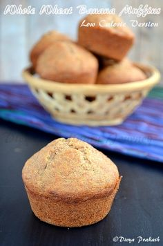 Low calorie and healthy, eggless banana muffins made with whole wheat
