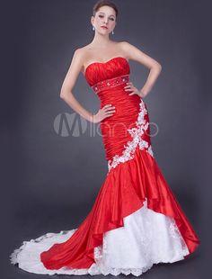 Abbigliamento da sposa rosso elegante & lussuoso in taffetà fiore con scollo…