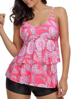 Open Back Printed Spaghetti Strap Tankini Set | liligal.com - USD $30.06
