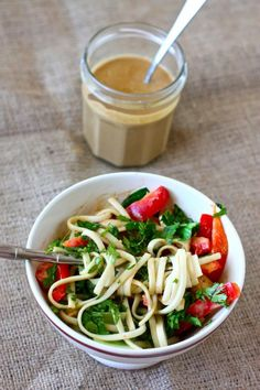 peanut soba noodle bowls. i love the peanut ginger sauce in this recipe!