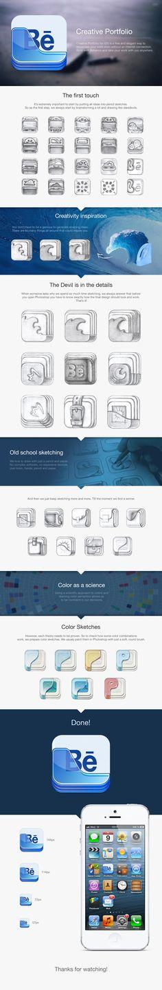 Behance Portfolio App Icon design case study #icon #design #behance #app #ramotion #icondesign #appdesign #application #illustration #inspiration #mobile