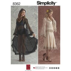 Simplicity Pattern 8362 Misses' Lace Blouse and Skirt In Two Styles SRSLY ARE WE NOW BEING TOLD WE OUGHTA WAL:Y AROND IN LACE OVER OUR UNDERWEA ALL DAY??? LETS ALL MAKE THIS UP AS A CHURCH DRESS!!!???? INDECENT!