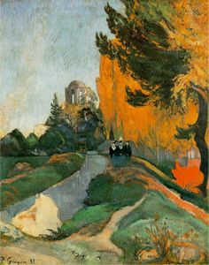 """On this day in Paul Gauguin arrived in Arles and moved into the Yellow House. """"Alyscamps,"""" from October is one of the first paintings Gauguin produced during his stay with Van Gogh Paul Gauguin, Impressionist Artists, Impressionism Art, Henri Matisse, Landscape Art, Landscape Paintings, Kunst Online, Van Gogh, Fine Art Prints"""