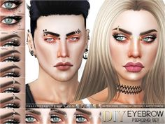 Sims 4 CC's - The Best: Eyebrow Piercing Set by Pralinesims