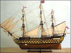 HMS Victory Ship Model (Sails Up) - 104cm Long