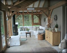 Garden Room Interior Ideas - 10 creative ways to transform a garden room Relax unwind and relieve stress by fitting a home sauna. Not Keen On The Cupboard But What A Beautiful . Interior Room Decoration, Room Interior Design, Home Interior, Home Decor, Interior Ideas, Style At Home, Oak Framed Extensions, Oak Frame House, Garden Room Extensions