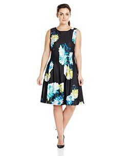 Calvin Klein Women's Plus-Size Sleeveless Floral Print Fit and Flare Dress, Lagoon/Multi, 18W Calvin Klein http://www.amazon.com/dp/B0182S74WI/ref=cm_sw_r_pi_dp_pOYVwb1XEX5E7