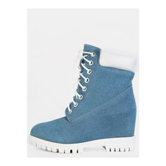 SheIn(sheinside) Denim Chunky Ankle Boots DENIM (€21) ❤ liked on Polyvore featuring shoes, boots, ankle booties, blue, blue booties, chunky-heel ankle boots, short boots, chunky booties and low heel boots