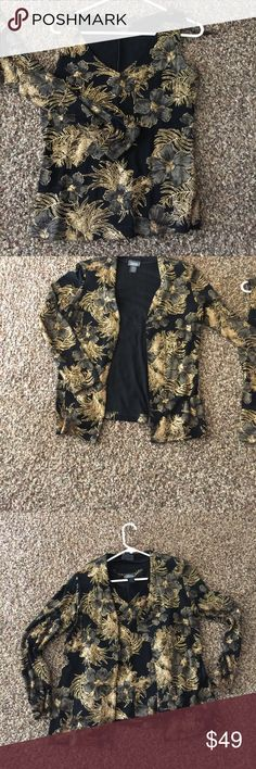 Dress barn collection size small blouse combo Beautiful brand new very flashy set. Black, gold and olive green.  Hate to get rid of this one but not enough room in my closet. Dressbarn collection Tops Blouses