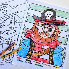 free printable boy and girl pirate color by number sheets Jack Le Pirate, Pirate Day, Pirate Birthday, Pirate Theme, Pirate Coloring Pages, Free Coloring Pages, Printable Coloring, Pirate Activities, Fun Activities For Kids