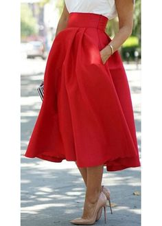 cb10a0a2df6 Boutique Donaire Red Full Wide High Waist Mid Calf A-skirt -- 60 Great  Spring Outfits - Style Estate -