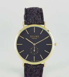 Reclaimed Vintage Inspired Sub-Dial Wool Watch In Black Exclusive to A