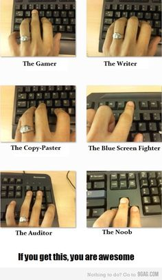 "Haha! Move ""The Gamer"" over so the middle finger is on the ""R"" and thats totally me. Stupid WoW! :P"