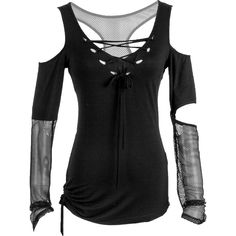 Women's top with sheer-skull and net arms, by Punk Rave