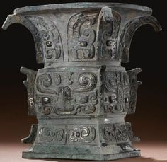 4-Sided 'trumpet mouth' wine Vessel, Western Zhou Dynasty, c. 11th century-771 B.C.