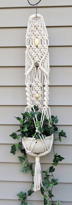 Love, love, love this cotton macrame plant holder!!!! Your small plants need a new home....