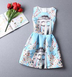 Slim jacquard printed sleeveless dress FH32413JHU