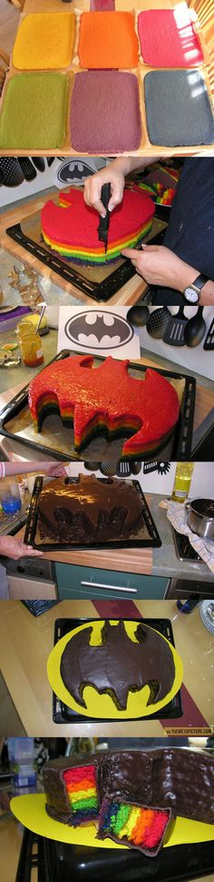 Seems like a crap ton of work to me......maybe without all the rainbow layers? Just two layers with icing in between. Batman Party, Cake Cookies, Cupcake Cakes, Batman Cupcake Cake, Easy Batman Cake, Batman Cake Pops, Tolle Kuchen, Batman Cakes, Batman Birthday Cakes
