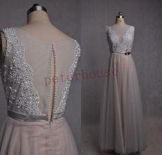 Silber Spitze applique Perlen lange Prom Kleider 2015 Forma Abendkleider, Fashion Party Kleider, Hochzeit Party Kleider, Abendkleider