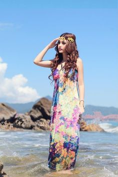 Bohemian Off The Shoulder Sleeveless Beach Purple Cotton Ankle Length Dress