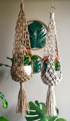 Vintage Handmade Green and White Macrame Plant Hanger with Ceramic White Cats 1970s